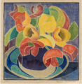 Blanche Lazzell, Tulips, white line woodblock print, 1920.tif