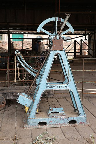Izod impact strength test - Izod impact tester in Blists Hill Victorian Town
