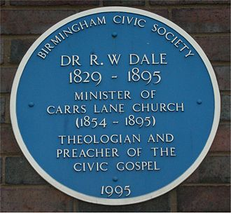 Robert William Dale - Blue plaque on the modern Carrs Lane Church, Birmingham