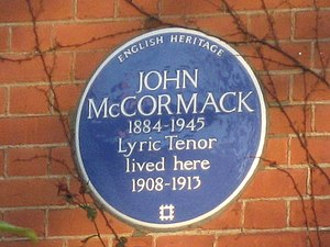 John McCormack (tenor) - John McCormack blue plaque in London