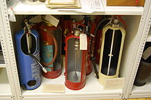 Blythe House, Science Museum 14 - cut fire extinguishers.JPG