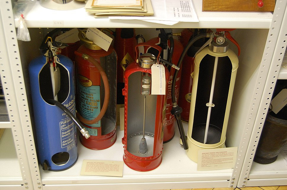 Blythe House, Science Museum 14 - cut fire extinguishers