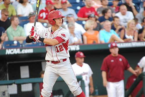Bo Bigham bats for the Razorbacks at the 2012 College World Series. Bo bigham CWS.jpg