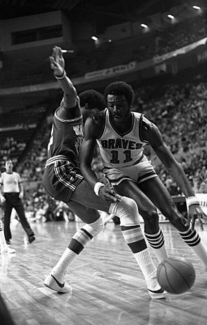 Buffalo Braves - Bob McAdoo (11) was the NBA MVP in the 1974–75 season after averaging 34.5 points per game and 14.1 rebounds per game.