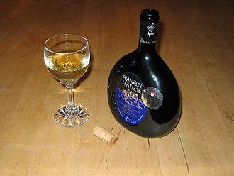 Franconia (wine region) - Bocksbeutel containing Franconian wine
