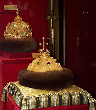 "Regalia of the Russian tsars - Two oldest Russian crowns - ""Cap of Monomakh"" and Kazan Crown."