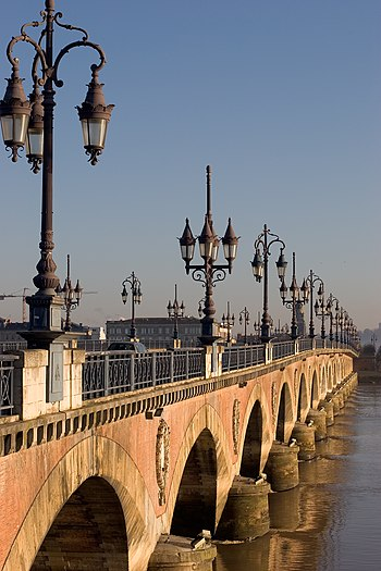 Bridge of Pierre over Garonne river in Bordeau...