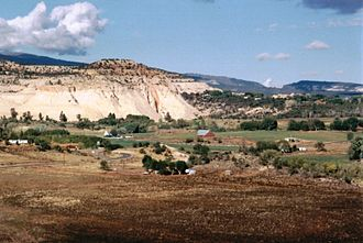 Boulder, Utah - From the Hogsback of Highway 12, the ranching and farming community of Boulder nestles amidst rugged terrain.