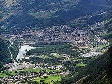 La ville de Bourg-Saint-Maurice vue depuis les hauteurs