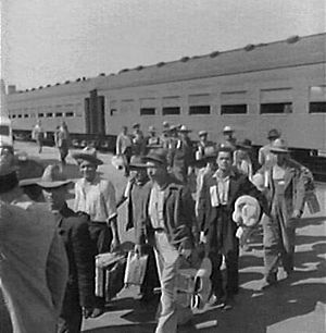 Manuel Ávila Camacho - The first ''Braceros'' arriving in Los Angeles, California by train in 1942. Photograph by Dorothea Lange.