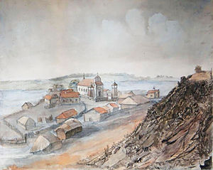 Braslaw - View of Braslaw from Braslawski Castle (1864) by Dmitry Strukov