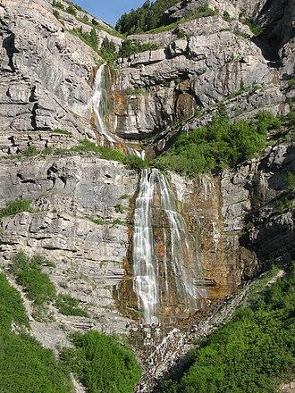 Bridal Veil Falls (Utah) - Hikers (base of lower falls) visit Bridal Veil Falls.