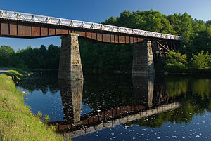Halifax and South Western Railway - Rail crossing at Martins River. The bridge is now part of the Trans Canada Trail.