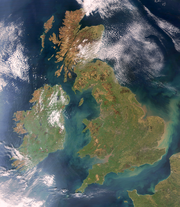 Britain and Ireland satellite image bright