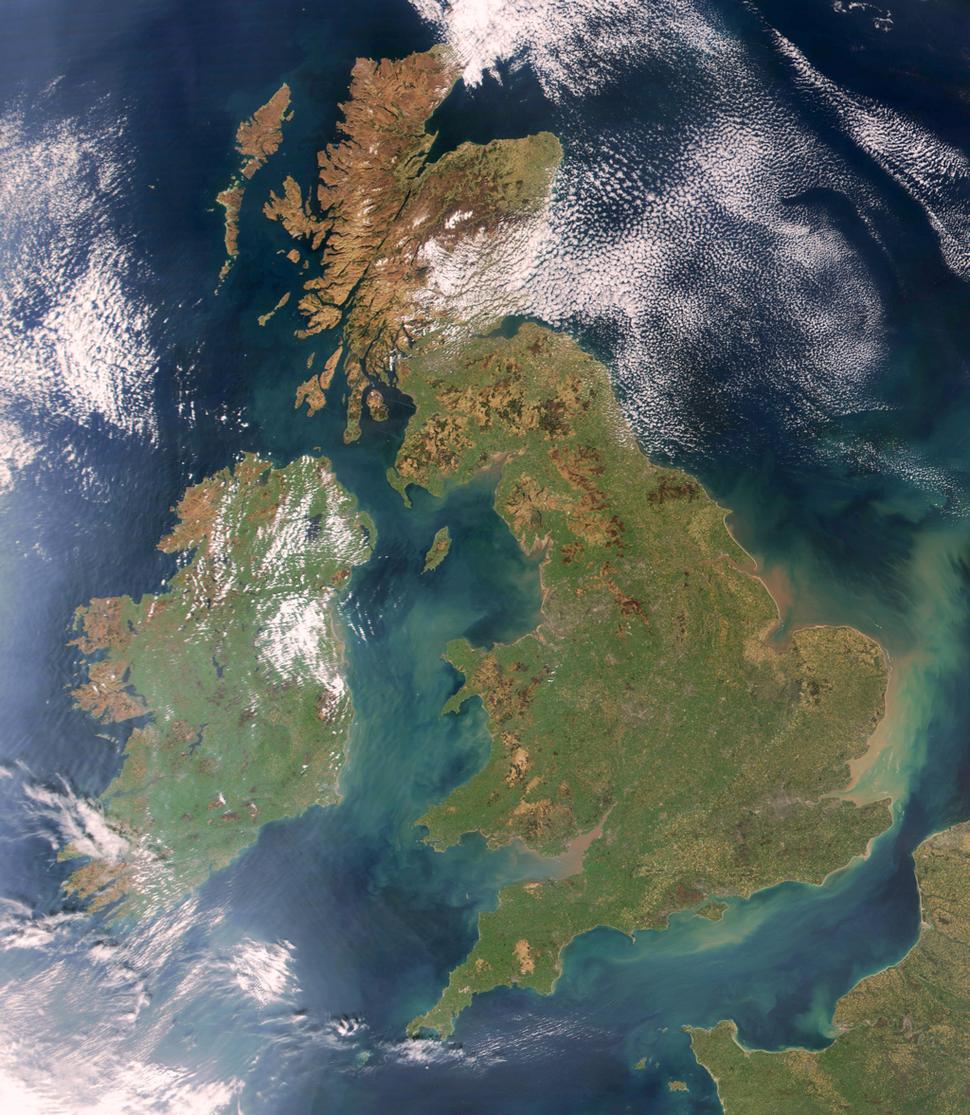 Britain and Ireland satellite image bright