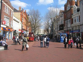 Broad Street, Reading main pedestrianised thoroughfare and the primary high street in the English town of Reading