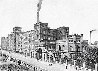 Congress Poland - An early photograph of Manufaktura in Łódź. The city was considered to be one of the largest textile industry centres in Europe and was nicknamed Polish Manchester.