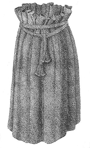 Skirt - Drawing of a girls skirt made of wool yarn found in a Bronze Age tomb in Borum Eshøj (Danmark)