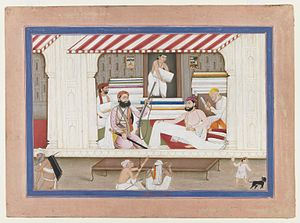 Cloth merchant - Cloth Merchant's Shop, Brooklyn Museum, depicts an establishment in India.