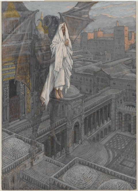 Brooklyn Museum - Jesus Carried up to a Pinnacle of the Temple (Jésus porté sur le pinacle du Temple) - James Tissot - overall.jpg
