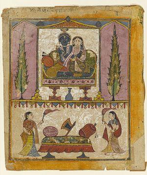 "Lakshmi Narayan - Lakshmi Naryana Frontispiece from the ""Tula Ram"" Bhagavata Purana - Brooklyn Museum"