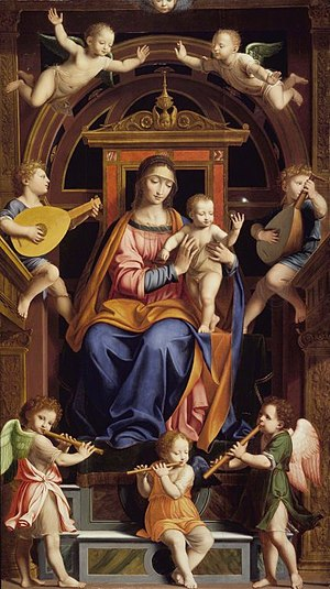 Bernardino Luini - Image: Brooklyn Museum Madonna and Child Enthroned with Angels Workshop of Bernardino Luini