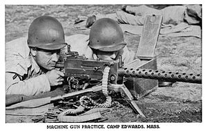 M2 tripod - Image: Browning machine gun practice at Camp Edwards