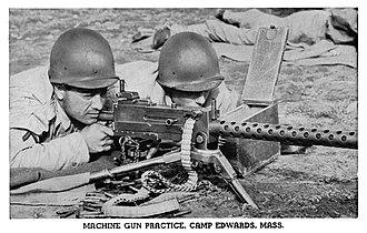 M2 tripod - Image: Browning machine gun practice at Camp Edwards