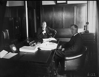 James Scullin - New Prime Minister James Scullin and former Prime Minister Stanley Bruce hold a private meeting after Scullin's swearing-in as Prime Minister, 1929