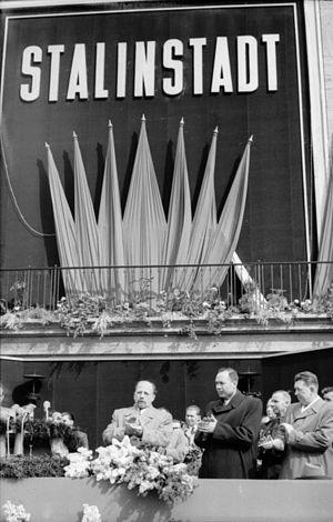 Eisenhüttenstadt - 1953 celebration: Walter Ulbricht with Soviet ambassador Ivan Ilyichev
