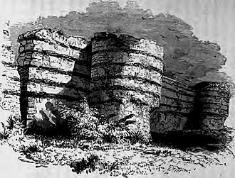 Saxon Shore - A mid-19th century illustration of the ruins of Burgh Castle in Norfolk