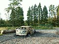 Burnt-out wreck, Cistern Wood car park - geograph.org.uk - 565295.jpg