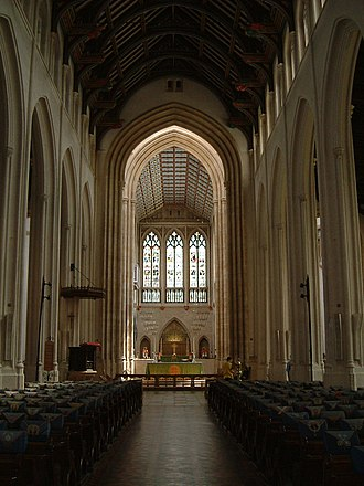 Grade I listed buildings in St Edmundsbury - The interior of Suffolk's Anglican cathedral, St James in Bury St Edmunds.