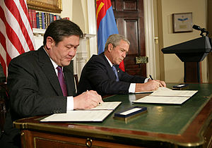 Nambaryn Enkhbayar - Nambaryn Enkhbayar and U.S. President George W. Bush sign the MCC Agreement in 2007
