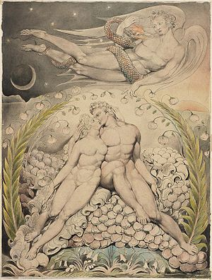 "William Blake's illustrations of Paradise Lost - Satan Watching the Endearments of Adam and Eve (1808), version from the ""Butts set"""