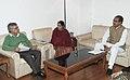 C.P. Joshi meeting the Leader of Opposition in Lok Sabha, Smt. Sushma Swaraj and the Chief Minister of Madhya Pradesh, Shri Shivraj Singh Chauhan, in New Delhi on December 18, 2012.jpg