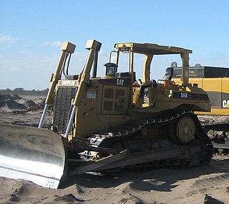 Caterpillar D6 - A Caterpillar D6R parked on a residential construction site.