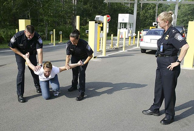 CBP Officers practising an arrest By Gerald L. Nino, CBP, U.S. Dept. of Homeland Security [Public domain], via Wikimedia Commons