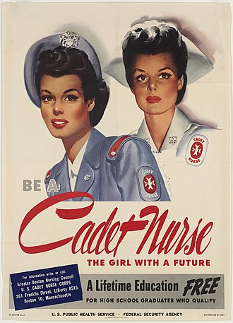 Cadet Nurse Corps - Recruiting poster for the Cadet Nurse Corps during World War II
