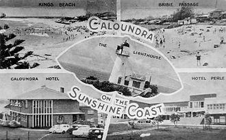 Old Caloundra Light - A 1950s postcard promoting Caloundra