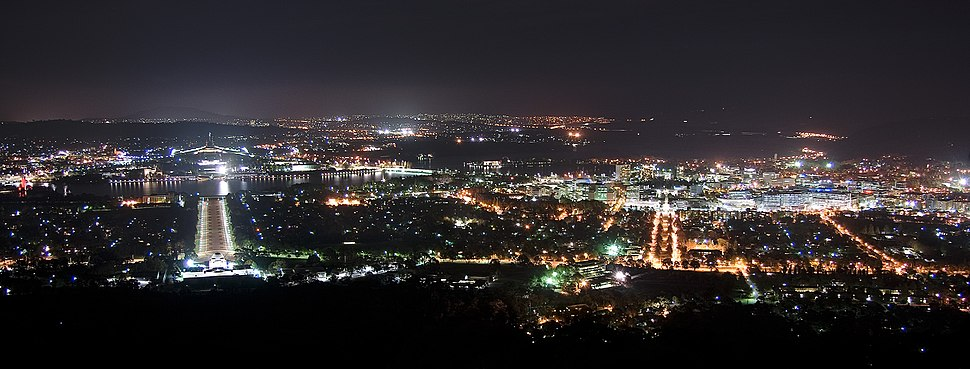 Canberra at night from Mount Ainslie (2436507066)