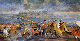 Kristianstad - Short-lived Danish capture of Kristianstad during the Scanian War (1676), painting by Claus Møinichen.