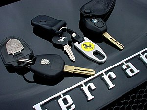 Car keys of Porsche, Ferrari and BMW