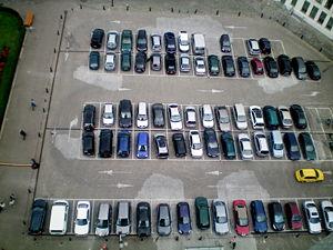 English: A car park from above.