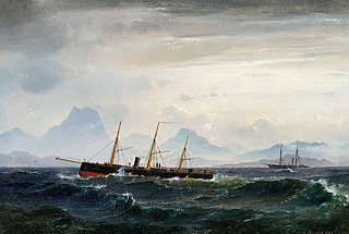 Seascape with steam- and sailing ships