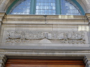 Carnegie library - Carnegie's library motto over the entrance of Edinburgh's Central Library.