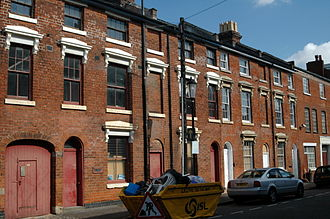 Jewellery Quarter - Three-storey terraced properties on Caroline Street that were used as workshops.