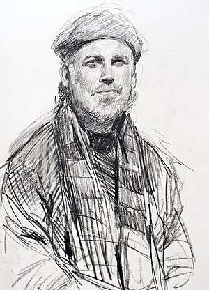 David Carrasco - A pencil drawing of Carrasco done at Montmartre, Paris by Gabor Gozon.