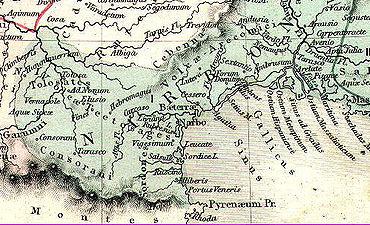 Carte De Lemprise Romaine En Languedoc Par AH Dufour 1846 La Gaule Sous LEmpire Romain