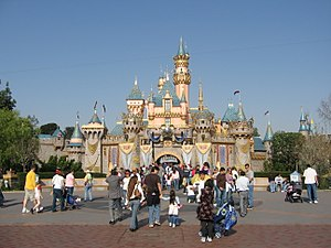 Disneyland Castle with 50th anniversary decora...